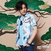 BIG TRAIN  堂獅印花短袖襯衫-男-白色