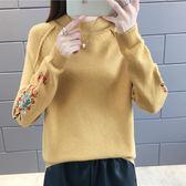 毛衣 圓領打底毛衣套頭女寬松韓版短款長袖繡花刺繡針織衫