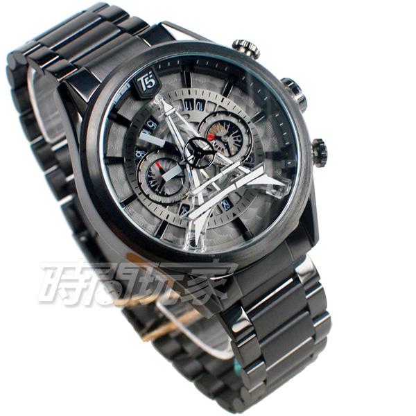 T5 sports time 巴黎鐵塔 三眼計時碼表 個性 型男 防水手錶 日期視窗 男錶 IP黑電鍍 H3664G黑