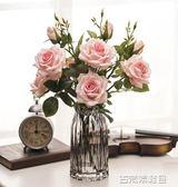 仿真花 雪山玫瑰 仿真花多頭玫瑰花假花裝飾花綠葉客廳家居軟裝擺件 三支 古梵希igo