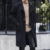 風衣男 2020新款秋冬男士毛呢大衣韓版修身中長款翻領風衣男裝潮流外套 小宅女
