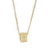 apm MONACO法國精品珠寶 閃耀鑲鋯復古寬版圓弧造型金色可調整項鍊 AC4623OXY