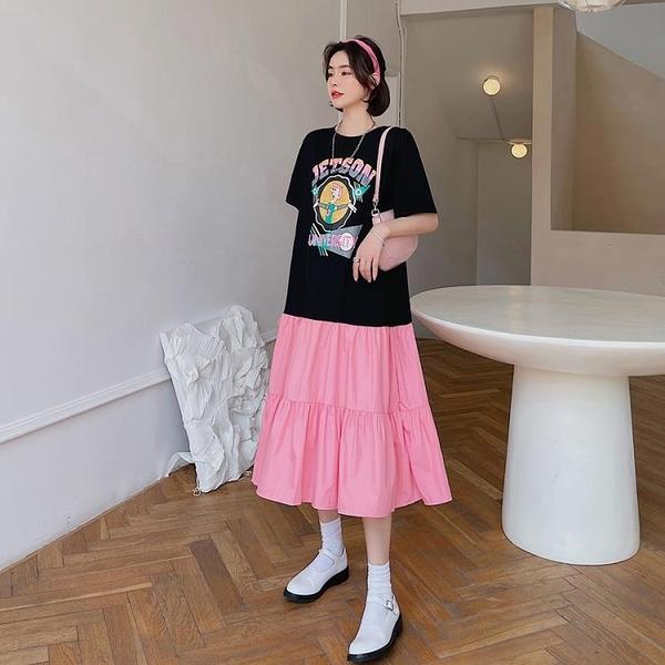 胖妹妹大碼洋裝連身裙~T恤大碼長裙~大碼拼接拼色蛋糕裙短袖連身裙6550.DC109衣時尚