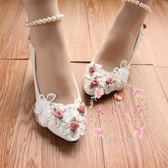 婚鞋 手工韓版立體花伴娘鞋珍珠腳鏈中跟影樓拍照演藝單鞋