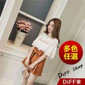 【DIFF】韓版寬鬆荷葉袖雪紡上衣+綁帶高腰短褲 女裝 上衣 短袖 T恤 衣服 兩件式套裝【S44】