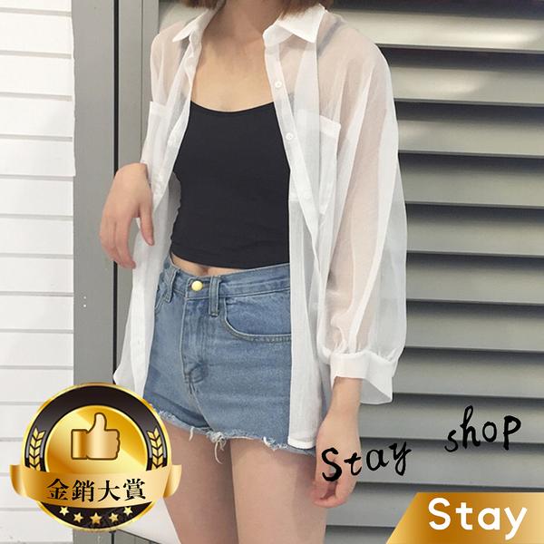 【Stay】韓版薄款寬鬆防曬雪紡外套 百搭外套 上衣 女裝 衣服 外套 薄外套 罩衫【J131】