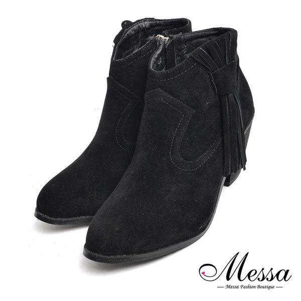 【Messa米莎專櫃女鞋】帥氣中性西部風流蘇麂皮粗跟短靴-黑色