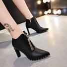 裸靴 高跟鞋女秋冬季2020新款鉚釘百搭馬丁靴女瘦瘦靴加絨尖頭粗跟短靴 降價兩天