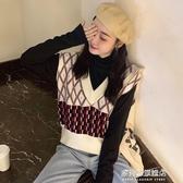 針織馬甲女-新款韓版無袖針織毛衣毛背心女外穿寬鬆V領馬夾外搭復古馬甲 多麗絲