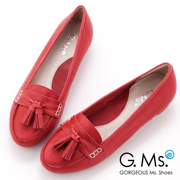 G.Ms. 牛皮柔軟厚底莫卡辛休閒鞋-紅色