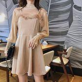 VK精品服飾 韓國風性感透視毛毛吊帶連身裙套裝長袖裙裝