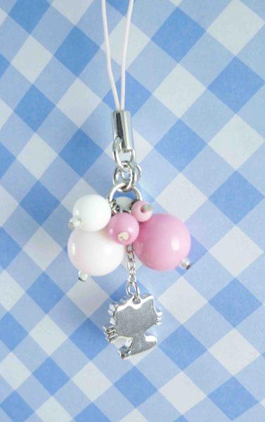 【震撼精品百貨】Hello Kitty 凱蒂貓~KITTY手機吊飾-串珠吊飾-粉白桃