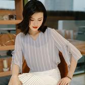 短袖T恤寬鬆V領上衣素色低領(三色M-3XL可選)-設計家 ZY2886