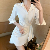 長袖洋裝 緞面襯衫顯瘦連身裙-媚儷香檳-【FD0076】