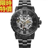 機械錶-鏤空自動精鋼打造夜光男手錶2色66ab27[時尚巴黎]