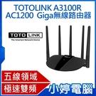 【3期零利率】全新 TOTOLINK A3100R AC1200 Giga無線路由器 無線飆網不卡頓