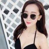 現貨-韓版ulzzang時尚百搭太陽眼鏡 情侶墨鏡 男女通用款 復古小方框 金屬框黑色墨鏡 275