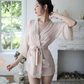 披肩系帶性感睡衣女夏季半透明極度誘惑網紗睡裙情調內衣家居服裝