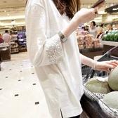 七分袖上衣 夏季秋裝竹節棉長袖上衣女寬鬆白色中長款七分袖上衣-Ballet朵朵