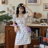 洋裝法式碎花洋裝女年夏季新款復古收腰顯瘦方領小個子短裙裙子 暖心生活館