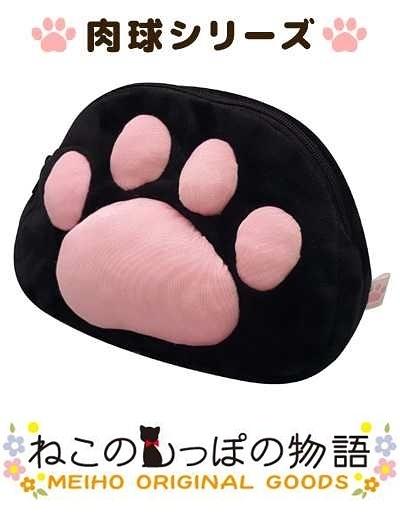 車之嚴選 cars_go 汽車用品【ME27】日本進口 黑貓物語 可愛貓腳掌印肉球造型 黑色小袋 化妝包