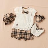 【金安德森】春夏彌月禮盒-假兩件格子褲兔裝-卡色
