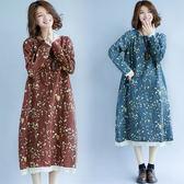 洋裝【K18】FEELNET中大尺碼女裝2018秋裝韓版圓領中長款棉麻長袖洋裝 M~XL