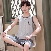 睡衣男士夏季純棉背心無袖家居服薄款大碼夏天可外穿休閒運動套裝 黛尼時尚精品