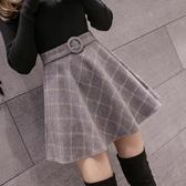a字裙短裙女毛呢半身裙百褶蓬蓬裙高腰冬裙加厚【左岸男裝】