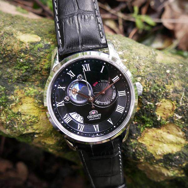 ORIENT東方錶SUN&MOON系列日月相機械錶 SET0T002B 黑
