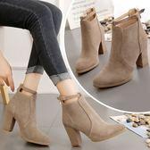 短靴 短2019新款百搭韓版磨砂粗跟馬丁靴高跟鞋英倫靴子