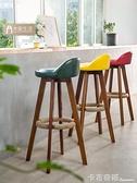 北歐實木吧台椅高腳凳家用吧台凳酒吧椅現代簡約腳凳台凳 高凳子