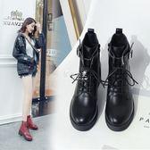 馬丁靴  繫帶復古馬丁靴女厚底粗跟短靴英倫風中跟機車靴子 『伊莎公主』