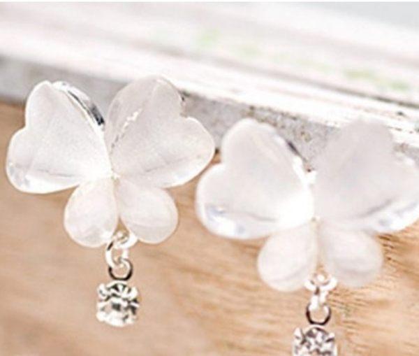 韓版 透明 蝴蝶 水鑽 耳環 清新 晶瑩 耳釘 韓國 可愛 淑女 耳飾 針式 耳環