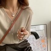 針織外套女v領氣質毛衣薄款寬鬆休閒開衫上衣【橘社小鎮】