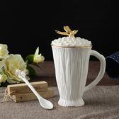 骨瓷馬克杯帶蓋勺白大號簡約創意個性水杯咖啡杯子陶瓷早餐骨瓷杯   花間公主YYS