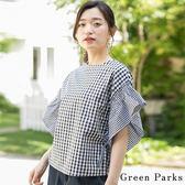 ❖ Hot item ❖ 2WAY格紋荷葉袖拼接上衣 - Green Parks