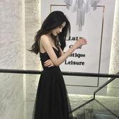 夏季正韓chic中長款高腰顯瘦打底小黑裙性感V領網紗吊帶連衣裙女