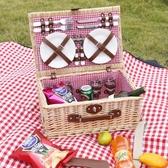 野餐籃藤編柳編籃子保溫帶蓋野營收納籃餐具【步行者戶外生活館】