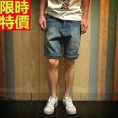 牛仔短褲-水洗做舊日系休閒丹寧男五分褲69h90[巴黎精品]
