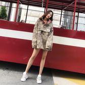 外套女港風復古春秋季韓版學生bf原宿寬鬆長袖迷彩糖果色工裝外套
