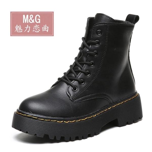 新款馬丁靴女英倫風百搭秋款靴子短靴冬季加絨ins網紅瘦瘦靴 遇見初晴
