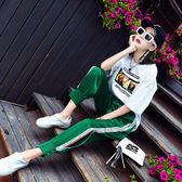 VK精品服飾 韓國風休閒運動側開口褲腳哈倫寬松百搭單品長褲