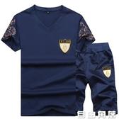 夏季男士短袖T恤2019新款韓版潮流V領體恤兩件套運動套裝男休閒褲  自由角落