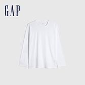 Gap男裝 簡約風格純色長袖T恤 660824-白色
