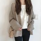 外套 2021春新款女裝慵懶薄針織開衫外套學院風復古日系百搭毛衣外穿【快速出貨八折下殺】