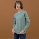 【GIORDANO】女裝小清新刺繡長袖T恤 - 32 長石綠