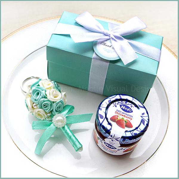 Double Love Tiffany盒「藍蓋hero果醬+捧花鑰匙圈」小禮盒--婚禮小物.禮贈品.送伴娘幸福朵朵