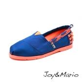 【Joy&Mario】時尚鉚釘撞色平底休閒鞋 - 61398W BLUE