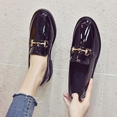 英倫風小皮鞋女2021新款春季韓版百搭學生女鞋平底黑色豆豆鞋夏季 韓國時尚週